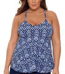 swim solutions plus size printed v-neck underwire tankini top, created for macy's women's swimsuit