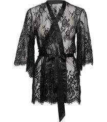 kimono lace isabella morgonrock svart hunkemöller