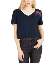 tommy jeans logo graphic ringer t-shirt
