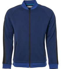 sweater, full zip bomber, sleeve ta indigo blue