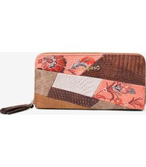 boho coin wallet floral and artificial python patch - brown - u