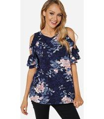 camiseta de manga corta con estampado floral y hombros descubiertos en azul marino cuello