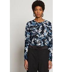 proenza schouler feather print long sleeve t-shirt blue/black/butter feather s