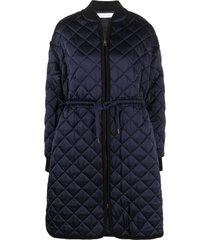 see by chloé quilted tie-fastening coat - blue