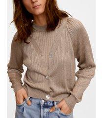 mango metallic cable knit cardigan