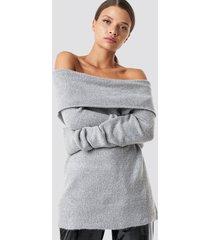 na-kd offshoulder folded wide sweater - grey