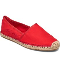 th signature espadrille sandaletter expadrilles låga röd tommy hilfiger