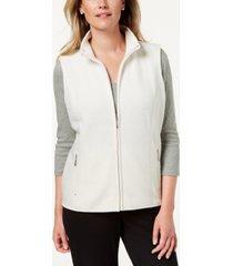 karen scott petite princess-seam zeroproof zip-front vest, created for macy's