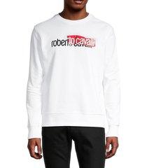 roberto cavalli men's logo crewneck sweater - white - size xxl