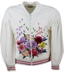 monnalisa crewneck sweatshirt with long sleeve zip with flower embroidery