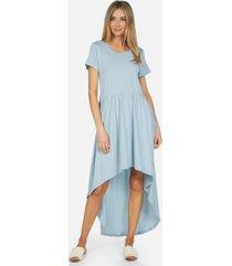 cornelius le high low dress - dusty blue l