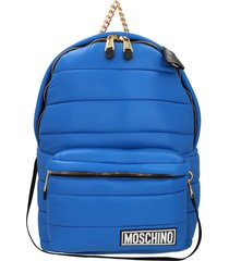 moschino logo patch padded backpack