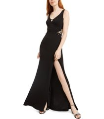 city studios juniors' embellished-applique slit gown