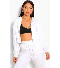 zip thru lounge hoodie, white