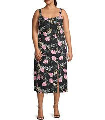 floral-print scoopneck front slit midi dress
