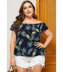 blusa de frutas con hombros descubiertos y volante azul marino de talla grande