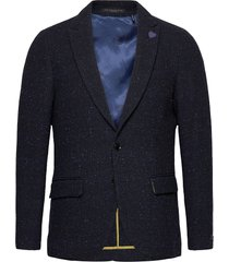 classic single-breasted neps wool-blend blazer blazer colbert blauw scotch & soda
