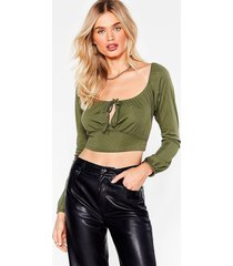womens sweet on you tie front crop top - khaki