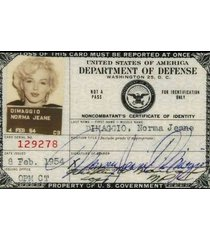 marilyn monroe norma jean dimaggio  dept of defense id  2.5 x 3.5 fridge magnet