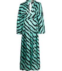 alexandre vauthier striped silk jumpsuit - blue
