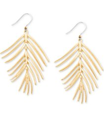 lucky brand gold-tone palm leaf drop earrings