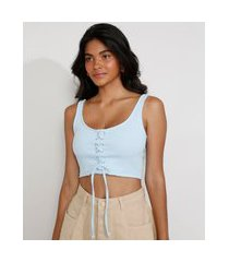 top cropped feminino corset com lace up alça larga decote reto azul claro