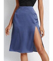 yoins falda de satén con dobladillo con aberturas azules