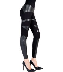 sexy moto pleather accent shaping women's leggings