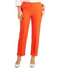 kasper elastic-waist straight-leg pants