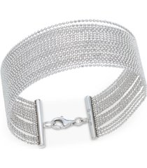 beaded multi-row bracelet in sterling silver