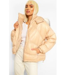gewatteerde jas met ruitvormige stiksels en met faux fur zoom, nude