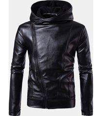 giacca casual da uomo con cerniera diagonale in pelle pu