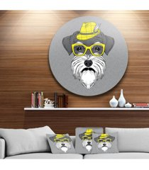 """designart 'schnauzer with hat and glasses' disc contemporary animal metal circle wall decor - 38"""" x 38"""""""