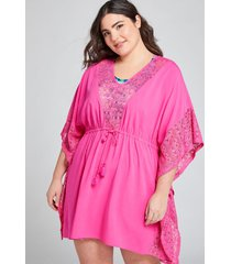 lane bryant women's crochet-trimmed cover-up dress 22/24 fuchsia