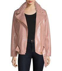 crinkle faux shearling & faux leather jacket