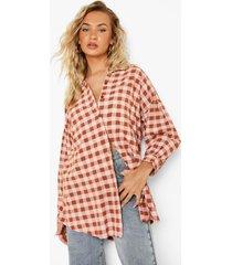 oversized gingham blouse met textuur, rust
