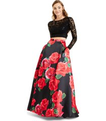 b darlin juniors' 2-pc. lace & floral-print gown, created for macy's