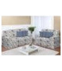 kit capa de sofá estampado 2 e 3 lugares decore azul 2 peças textil lar