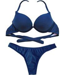 biquíni bojo bolha alça estreita divance azul marinho calcinha fio dental