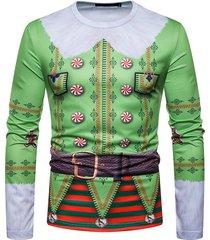 camiseta de navidad para hombre falso de dos piezas cuello redondo