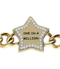 bracciale a maglie larghe in acciaio dorato one in a million con strass per donna