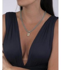 colar turquesa com pingente gray - feminino