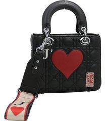 cartera negra leblu corazón