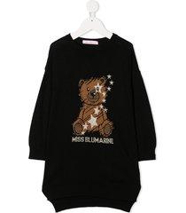 miss blumarine logo teddy embroidered jumper dress - black