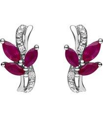 orecchini pendenti in oro bianco con rubini 0,84 ct e diamanti 0,01 ct per donna