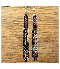 glass beaded waterfall earrings, 'black diamond talisman' (mexico)
