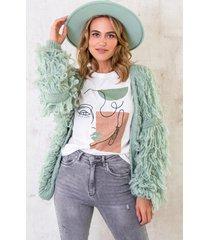 oversized knitted fringe vest dust mint