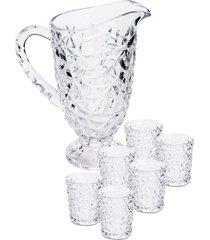 cj 7pçs jarra com 6 copos de vidro emerald 1200/300ml lyor