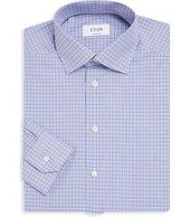 gingham slim-fit cotton dress shirt