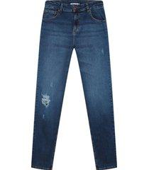 jean slim con desgaste color azul, talla 28